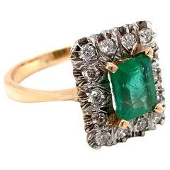 Vintage 14K Rose Gold Diamond and Emerald Halo Ring, 2.06ct