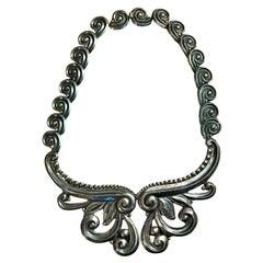 Vintage Los Castillos Taxco Mexico Pectoral Repousse Sterling Silver Necklace