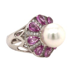 South Sea Pearl, Pink Sapphire and Diamond Cocktail Ring