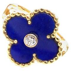Van Cleef & Arpels Vintage Alhambra Lapis Lazuli Diamond Yellow Gold Ring
