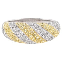 Natural Fancy Yellow Diamond and White Diamond in 18K Band Ring