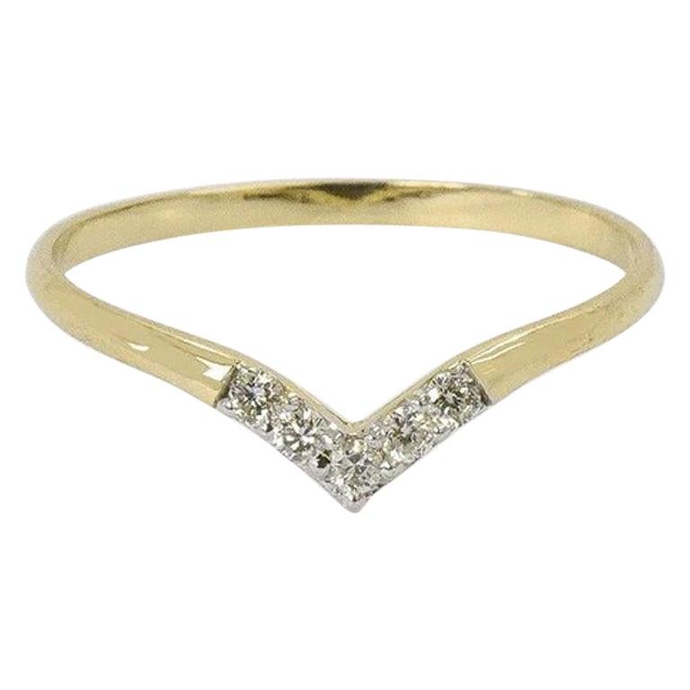 10k 14k 18k V Shape Diamond Ring Diamond Chevron Ring Dainty Bridal Ring