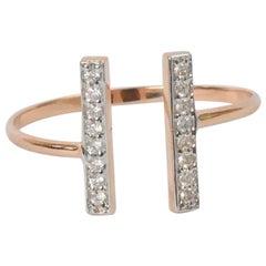 18k 14k 10k Gold Open Design Open Bar Diamond Ring Parallel Bar Ring