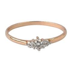18k 14k 10k Gold Diamond Gold Ring Triple Stone Ring Diamond Trio Ring