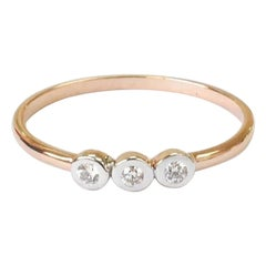 10k 14k 18k Solid Gold Three Stone Diamond Engagement Ring