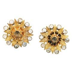 Earrings 19th Century Yellow Gold 18 Karat Diamond Rose Cut