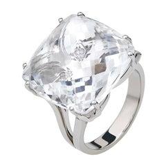 Contemporary Quartz 19.00 Ct & Diamonds 18kt White Gold Ring Chakral Activator