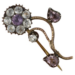 Quality Georgian 15ct Rose Gold and Paste Forget Me Not Flower Brooch, c1790