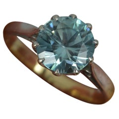 Antique Solid 9 Carat Gold and Blue Zircon Solitaire Ring