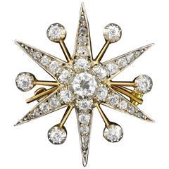 Edwardian Diamond Platinum Starburst Pin Pendant and Hair Pin