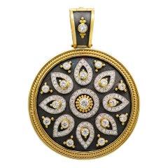 18k Gold Byzantine Pendant with Brilliant Diamonds