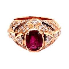 GIA 1.60ct Natural Ruby 14K Rose Gold Ring