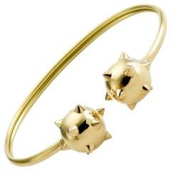 Maria Kotsoni Sculptural 18K Yellow Gold Morning Star Flexible Cuff Bracelet