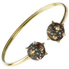 Maria Kotsoni 18K Yellow & Blackened Gold Morning Star, Flexible Cuff Bracelet