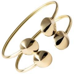Maria Kotsoni, Contemporary Sculptural 18K Yellow Gold Flexible Cuff Bracelet