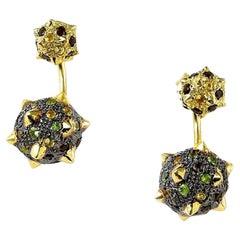 Maria Kotsoni, Contemporary 18K Yellow Black Gold Morning Star Ear Jackets/Studs