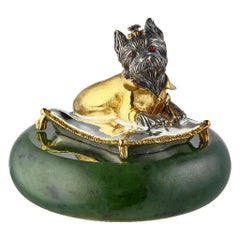Miniature Dog Talisman Silver Gold Plated Yorkshire Terrier on a Pillow