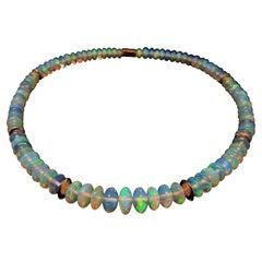 Crispy Sparkling Opal Necklace with 18 Carat Rose Gold