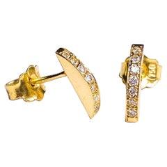 Maria Kotsoni, Contemporary Sculptural 18K Yellow Gold & Diamond Stud Earrings