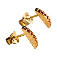 Maria Kotsoni, Contemporary 18K Yellow Gold & Madeira Citrine Arched Ear Studs
