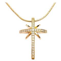 Maria Kotsoni, Contemporary 18K Gold & White Diamond Star Cross Pendant