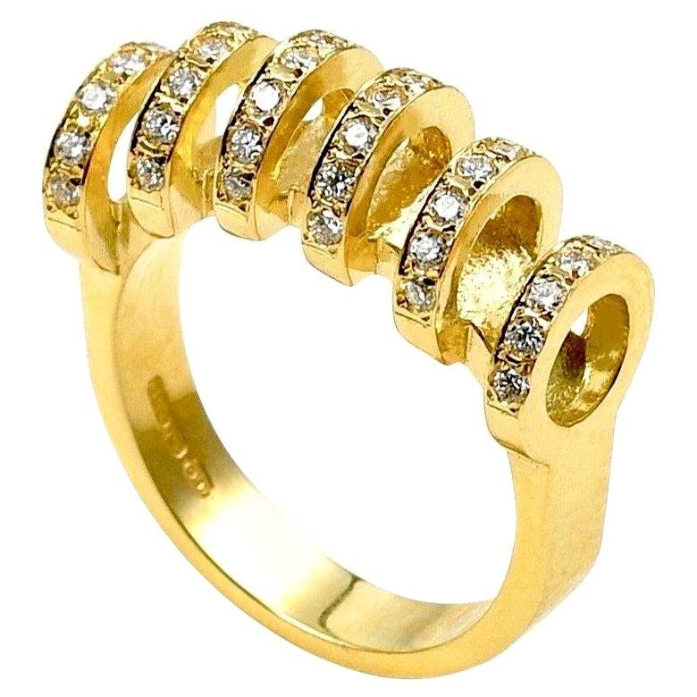 Maria Kotsoni, Contemporary 18K Yellow Gold and White Diamond Sculptural Ring