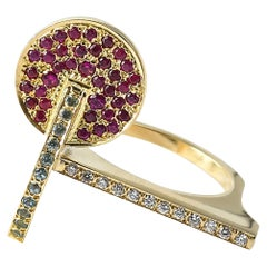 Maria Kotsoni Contemporary 18kyellow Gold Ruby Topaz & Diamond Sculptural Ring