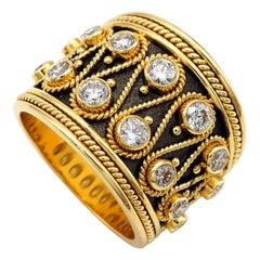 Dimos 18k Gold Byzantine Inspired Band Ring with Brilliant Diamonds
