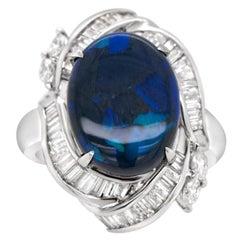 4.43 Carat Black Opal and 0.89 Carat Diamond Platinum Ring