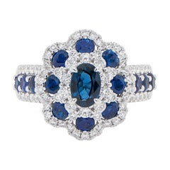 Cocktail Ring Set with Blue Sapphires and Diamonds 18K Gold