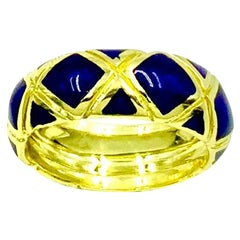 Estate Tiffany &Co. Cobalt Blue Enamel 18K Yellow Gold X Band Ring
