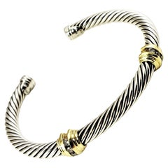 David Yurman Sterling Silver/18 Karat Yellow Gold and Diamond Cable Cuff Bracele