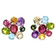 Signed Asprey Multi-Gemstone Gold Earrings Estate Fine Jewelry