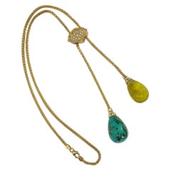 Michael Kneebone Turquoise Lemon Citrine Diamond 18k Gold Lariat Necklace