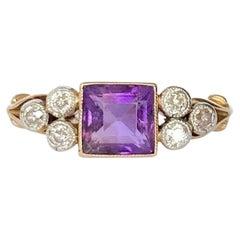 Art Deco Amethyst and Diamond 18 Carat Gold Ring