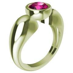 18 Karat Green Gold Round Pink Sapphire 1.09 Carat Teardrop Sculpture Ring