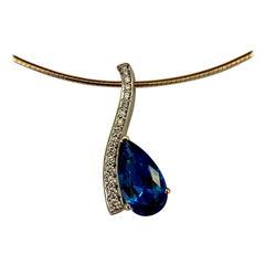 Michael Kneebone Blue Topaz Pave Diamond Wavy Pendant