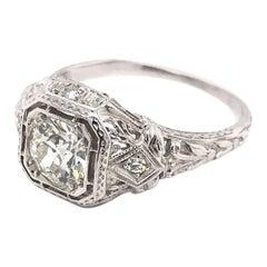 Art Deco 0.85 Carat Diamond Filigree Ring