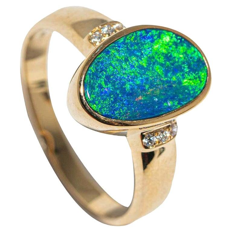 Australian Opal Diamond Ring 14 Karat Yellow Gold For Sale