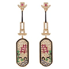 Diamond, Ruby, Emerald and Blue Sapphire Art Deco Style Earring