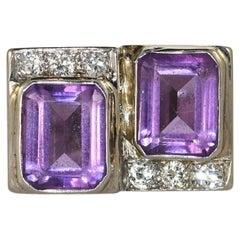 14K White Gold Vintage Amethyst & Diamond, .45tdw, 14.6g