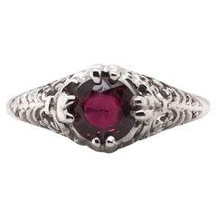 Art Deco 0.92 Carat Ruby Filigree Ring