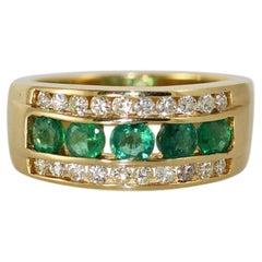14KYG Emerald & Diamond Ring, .50tdw, 6.2g