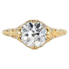 Handcrafted Charlotte Old European Cut Diamond Ring by Single Stone