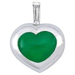 Certified Natural Green Jade, Diamond & 18K Gold Heart Pendant