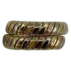Vintage Bvlgari Tubogas 18 Karat Yellow, Rose, White Gold Tricolor Flexi Ring