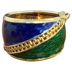 Kutchinsky 18k Yellow Gold, Blue & Green Enamel Zipper Motif Ring Vintage