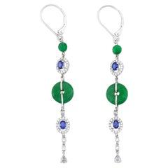 Certified Natural Green Jade, Diamond & Sapphire Designer Drop Earrings