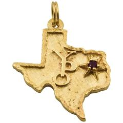 Young Presidents Organization Texas Shaped Ruby Gold Charm