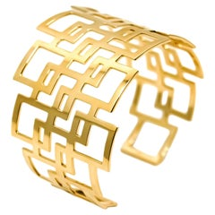 Mohamad Kamra Geometric Cuff Bracelet in 18kt Solid Yellow Gold